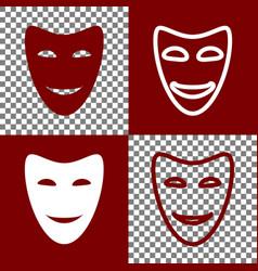 Comedy theatrical masks bordo and white vector