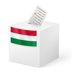 Ballot box with voting paper hungary vector