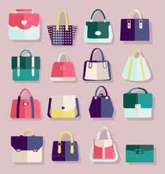 Flat icons set of fashion bags vector image