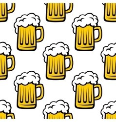 Fresh beer tankard seamless pattern vector