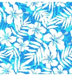 Blue and white tropical flowers silhouettes vector