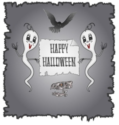 Happy Halloween ghosts and owl with skull vector image