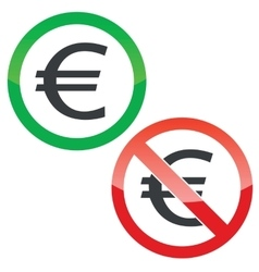 Euro permission signs set vector