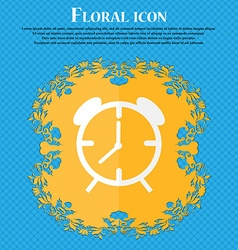 Alarm clock sign icon wake up alarm symbol floral vector