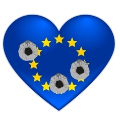 Bullet holes in heart of european union flag vector