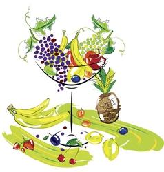 fruit dessert cocktail vector image