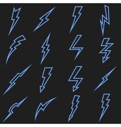 Lightning black linear outline icons set vector