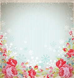 Vintage card with red roses and snowflakes vector