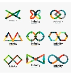 Infinity logo set flat colorful icons vector