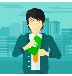 Man putting money in pocket vector