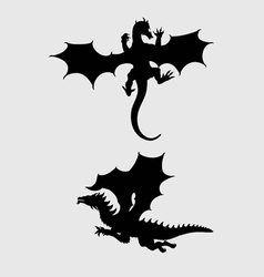 Dragon silhouettes vector