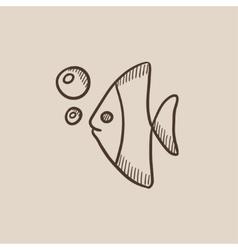 Fish under water sketch icon vector image