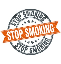 Stop smoking round orange grungy vintage isolated vector