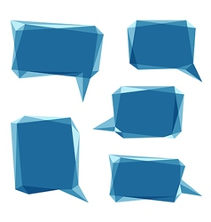 Set of blue low polygon 3d abstract speech bubbles vector