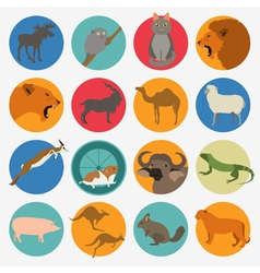 Animals mammals icon set flat style vector image