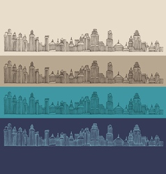 Big city architecture engraved vector