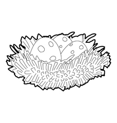 Bird nest with eggs icon isometric 3d style vector