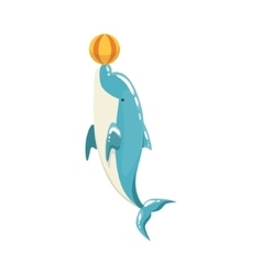Blue bottlenose dolphin balancing a ball for vector