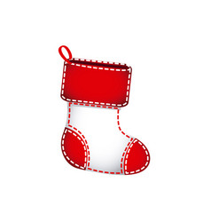 Christmas socks with red fur and white body vector