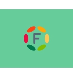 Color letter F logo icon design Hub frame vector image