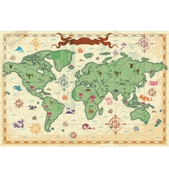 Colorful ancient world map vector