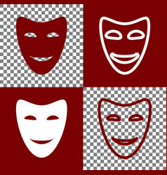 Comedy theatrical masks bordo and white vector
