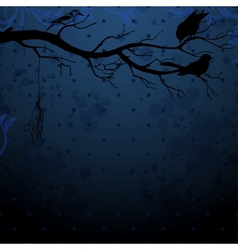 Dark blue background with tree branch and birds vector