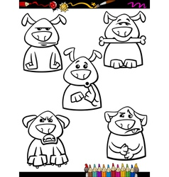 Dog emotion set cartoon coloring page vector
