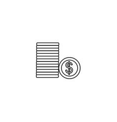 dollar coins line icon vector image vector image