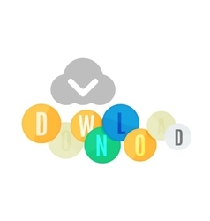 Download button made of glossy circles vector image vector image