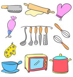equipment kitchen set colorful doodles vector image vector image
