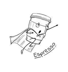 Espresso coffee cup superhero character vector