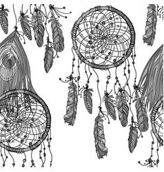 ethnic dreamcatcher monochrome seamless pattern vector image vector image