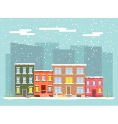 flat city in winter vector image