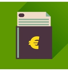 Flat icon with long shadow check book vector