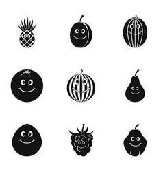 fruit emoji icon set simple style vector image vector image