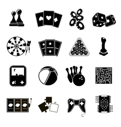 Game icons set black vector image