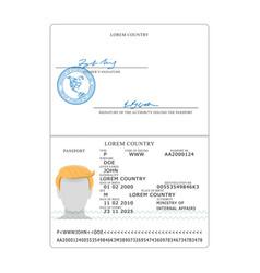 International passport opened passport vector