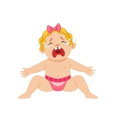 Little baby girl sitting in nappy crying vector