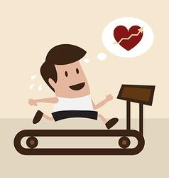 Man jogging on treadmill vector