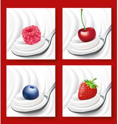 milk cream yogurt swirl with berries on spoon vector image vector image
