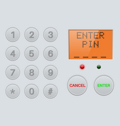 Pin enter display with number buttons gray vector