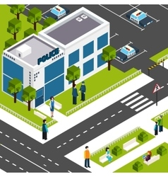 Police department station isometric poster vector