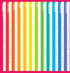 rainbow calendar 2018 vector image