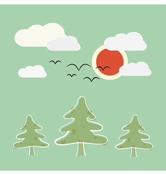 Retro Flat Design Nature Landscape with Sun Trees vector image vector image