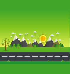 road in green valley mountains hills clouds and vector image vector image