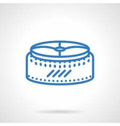 Seat pouf simple blue line icon vector image