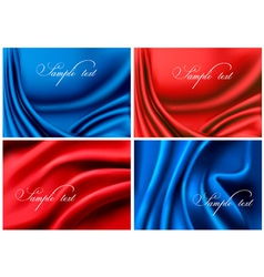 set of elegant colorful silk backgrounds vector image