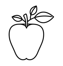 Sketch silhouette image apple fruit with stem and vector