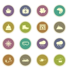 Skiing icons set vector image vector image